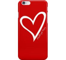 #BeARipple...HAPPY White Heart on RED iPhone Case/Skin