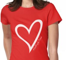 #BeARipple...DREAM White Heart on Red Womens Fitted T-Shirt