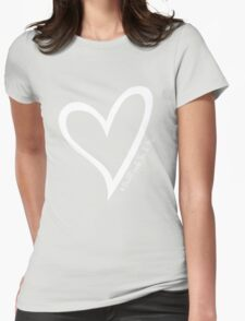 #BeARipple...YOU & ME White Heart on Black Womens Fitted T-Shirt