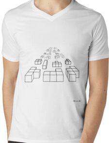 3d Blocks - black Mens V-Neck T-Shirt
