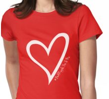 #BeARipple...YOU & ME White Heart on Red Womens Fitted T-Shirt
