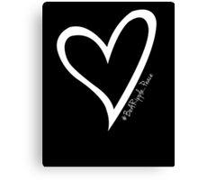 #BeARipple...PEACE White Heart on Black Canvas Print