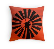 Vintage Windmill at Sunrise Throw Pillow