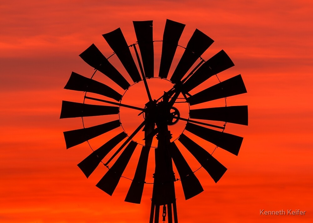 Vintage Windmill at Sunrise by Kenneth Keifer