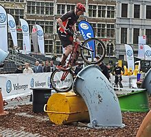 Cyclist, UCI Trials World Cup, Antwerp, 2014 by Margaret  Hyde