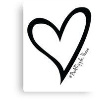 #BeARipple...PEACE Black Heart on White Canvas Print