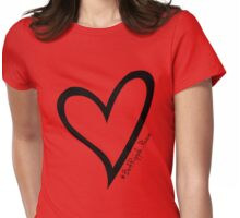#BeARipple...PEACE Black Heart on Red Womens Fitted T-Shirt