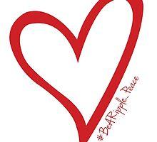 #BeARipple...PEACE Red Heart on White by BeARipple