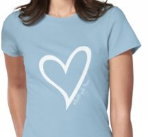 #BeARipple...PEACE White Heart on Blue Womens Fitted T-Shirt