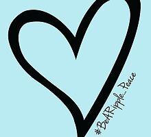 #BeARipple...PEACE Black Heart on Blue by BeARipple
