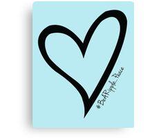 #BeARipple...PEACE Black Heart on Blue Canvas Print