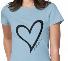 #BeARipple...PEACE Black Heart on Blue Womens Fitted T-Shirt