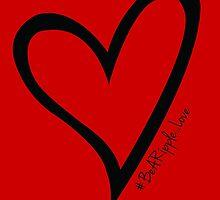 #BeARipple...LOVE Black Heart on Red by BeARipple