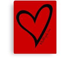 #BeARipple...LOVE Black Heart on Red Canvas Print
