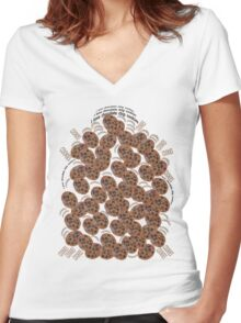 I Love Chocolate Chip Cookies Women's Fitted V-Neck T-Shirt