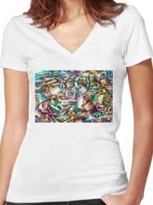The illusion of City life Women's Fitted V-Neck T-Shirt