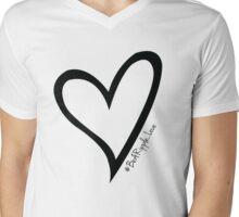 #BeARipple...LOVE Black Heart on Pink Mens V-Neck T-Shirt