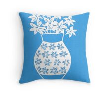 blue and white vase Throw Pillow