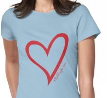 #BeARipple...LOVE Red Heart on Blue Womens Fitted T-Shirt