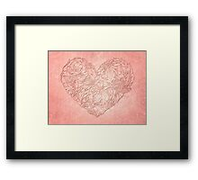 Hearts & flowers in pink Framed Print