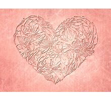 Hearts & flowers in pink Photographic Print