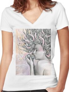 Medusa's Lament  Women's Fitted V-Neck T-Shirt