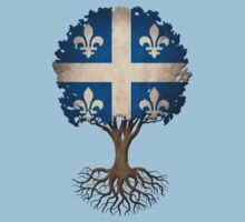 Tree of Life with Quebec Flag Kids Tee