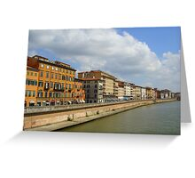 Buildings along the river, Pisa, Italy Greeting Card