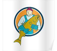 Fishmonger Salmon Fish Circle Cartoon Poster
