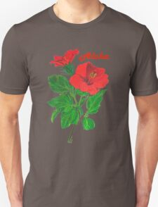 Aloha Red Hibiscus Greetings Unisex T-Shirt