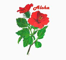 Aloha Red Hibiscus Greetings Womens Fitted T-Shirt