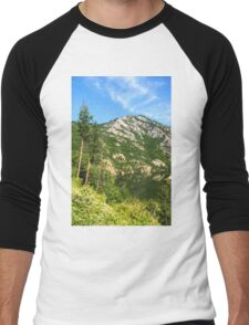 Lean In - A Mountain Lake Impression Men's Baseball ¾ T-Shirt