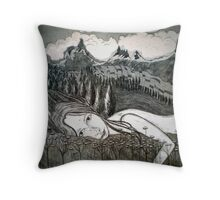 Amy's Travels - Aquatint Etching Throw Pillow