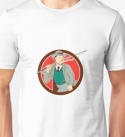 Vintage Fly Fisherman Bowler Hat Cartoon Unisex T-Shirt