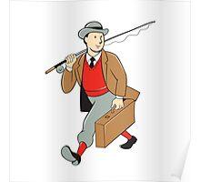 Vintage Tourist Fly Fisherman Luggage Cartoon Poster