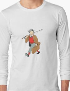 Vintage Tourist Fly Fisherman Luggage Cartoon Long Sleeve T-Shirt