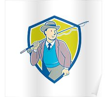 Vintage Fly Fisherman Bowler Hat Shield Cartoon Poster