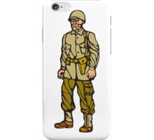 World War Two Soldier Standing Linocut iPhone Case/Skin