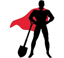 Superhero with shovel Photographic Print
