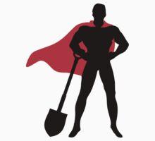 Superhero with shovel by nektarinchen