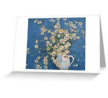 White chamomile flowers with blue background Greeting Card