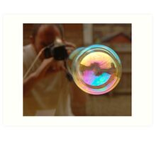 Photographing Bubbles Art Print