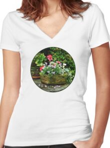 Geraniums and Lavender Flowers on Stone Steps Women's Fitted V-Neck T-Shirt