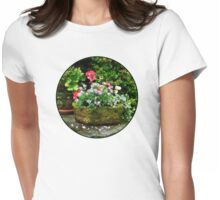 Geraniums and Lavender Flowers on Stone Steps Womens Fitted T-Shirt