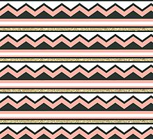 Coral and Gold Chic Chevron and Glitter Stripes by phantomprint