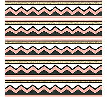 Coral and Gold Chic Chevron and Glitter Stripes Photographic Print