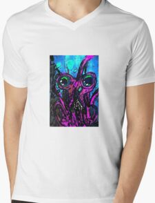 Psychedelic Squid Mens V-Neck T-Shirt