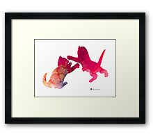 Two abstract cats playing watercolor silhouette Framed Print
