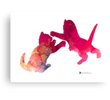 Two abstract cats playing watercolor silhouette Canvas Print
