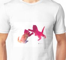 Two abstract cats playing watercolor silhouette Unisex T-Shirt